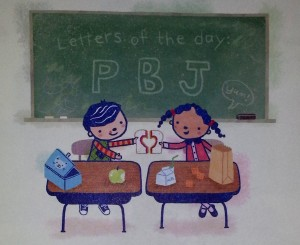 illustration of children at desks sharing a peanut butter & jelly sandwich. On a blackboard behind them are written the letters PBJ